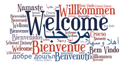 a graphic with the word welcome in a variety of languages spelled out in different fonts and colors