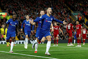 Chelsea's Eden Hazard celebrates scoring their second goal in a 2-1 League Cup win over Liverpool at Anfield on September 26, 2018.