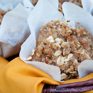 Cinnamon Pear Muffins with Oatmeal Crumble.