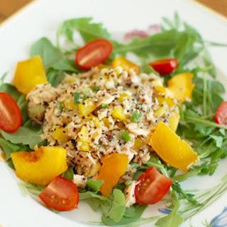 Salmon Peach Quinoa Salad.