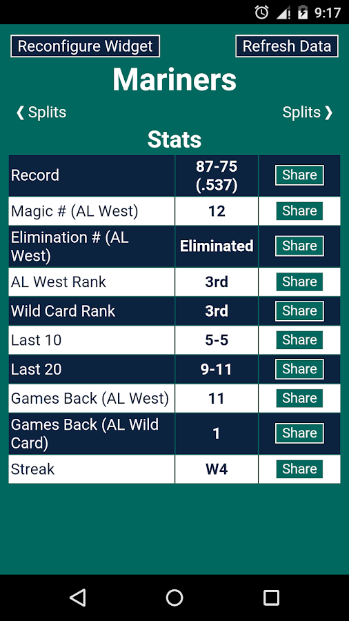 Magic Number for MLB - screenshot