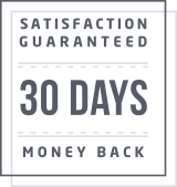 Square icon reads: Satisfaction Guaranteed 30 Days Money Back