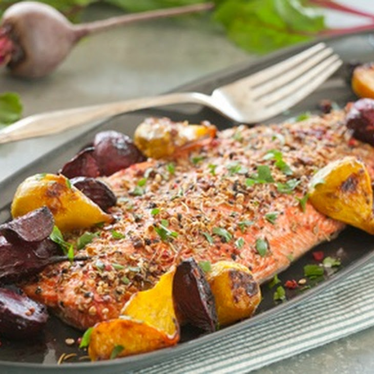 Spice-Crusted Salmon with Roasted Ginger Beets Recipe | Yummly