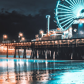 The beauty of Santa Monica by Jonas Lechner - City,  Street & Park  Night ( travel photography, santa monica, beautiful, amazing, city, night, california, stars, travel, los angeles, photography )