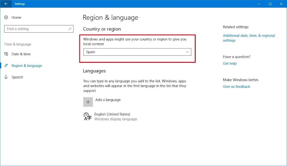 Windows 10 Country or region setting