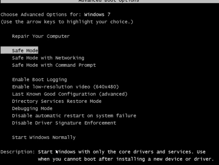 boot your system in safe mode