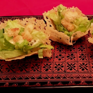 Mini Vegetarian Caesar Salad Parmesan Cups