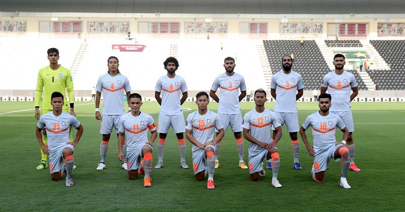 Indian football team posing for a pre-match photograph in June 2021