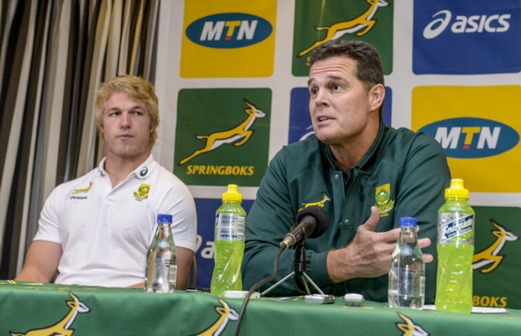 Coach Rassie Erasmus of the Springboks and Pieter-Steph du Toit of the Springboks during the Springboks team announcement media conference at Livorno Room, Tsogo Sun Montecasino on May 30, 2018 in Johannesburg, South Africa.
