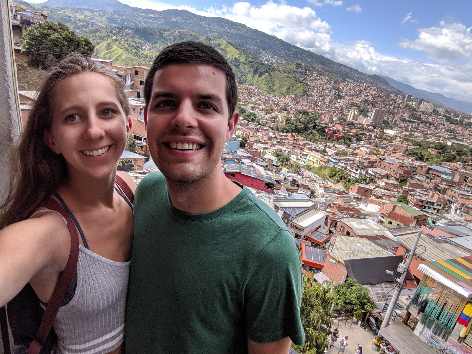 Brandon and Erin in Comuna 13 in Medellin, Colombia.