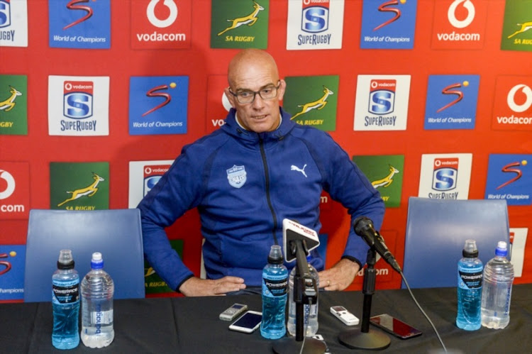 Coach John Mitchell of the Bulls during the Super Rugby match between Vodacom Bulls and Highlanders at Loftus Versfeld on April 28, 2018 in Pretoria, South Africa.