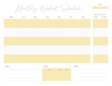 Month of Workouts - Planner template