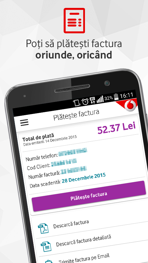 MyVodafone Romania- screenshot