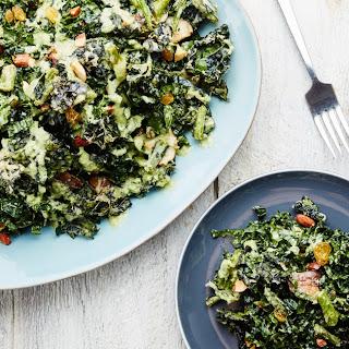 Tempura Kale Salad With Shiitake Mushrooms, Raisins, and Almonds
