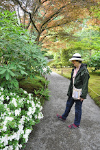 Photo: Carole Slesnick on one of the garden paths, on our way out after a wonderful weekend of sharing haiku.