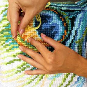 Embroiding process by Svetlana Saenkova - People Body Parts ( stitch, hands, embroiding, handcraft, handmade,  )