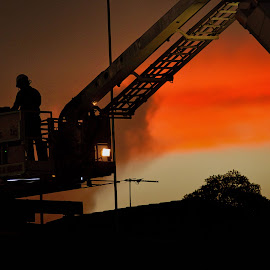 Testing equipment by Carole Pallier  - Transportation Other ( ladder, sunset, fireman, firetruck,  )