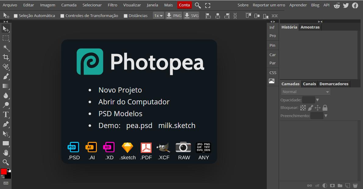 Página inicial do Photopea, com interface bastante parecida com o Photoshop (Reprodução: Karina Carneiro)