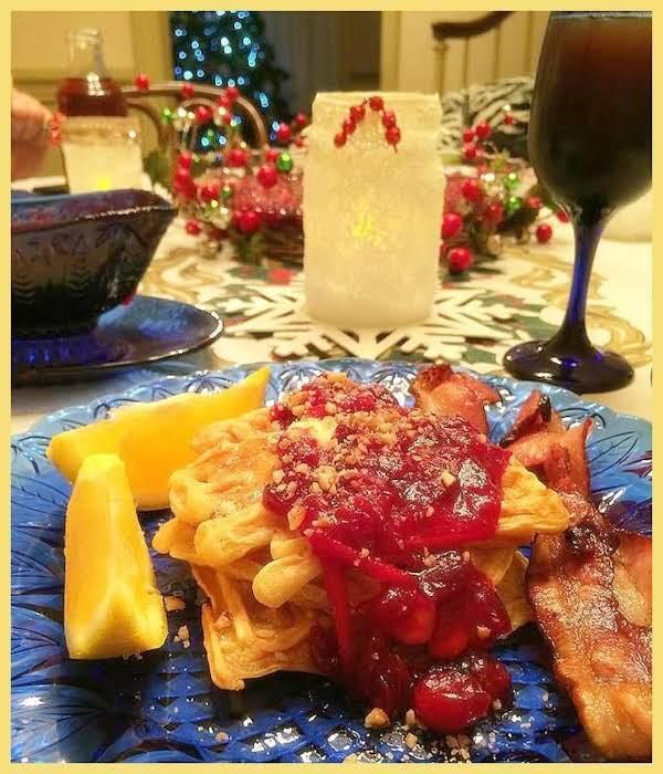 Eggnog Waffles With Cranberry Orange Rum Compote