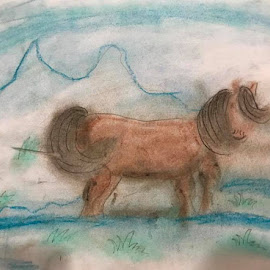 snow horse by Akshay Vinothan - Painting All Painting