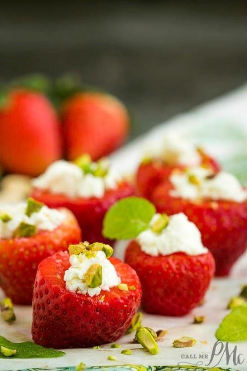 Pistachio and Feta Stuffed Strawberries