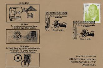 Photo: Matasellos del 50 aniversario del primer matasellos asturiano, durante la Exfimieres