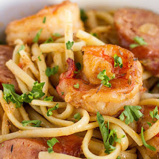One-Pot Cajun Shrimp & Sausage Pasta.