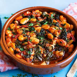 Gigantes With Tomatoes And Greens.