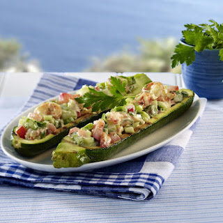 Zucchini Boats with Crab Salad.