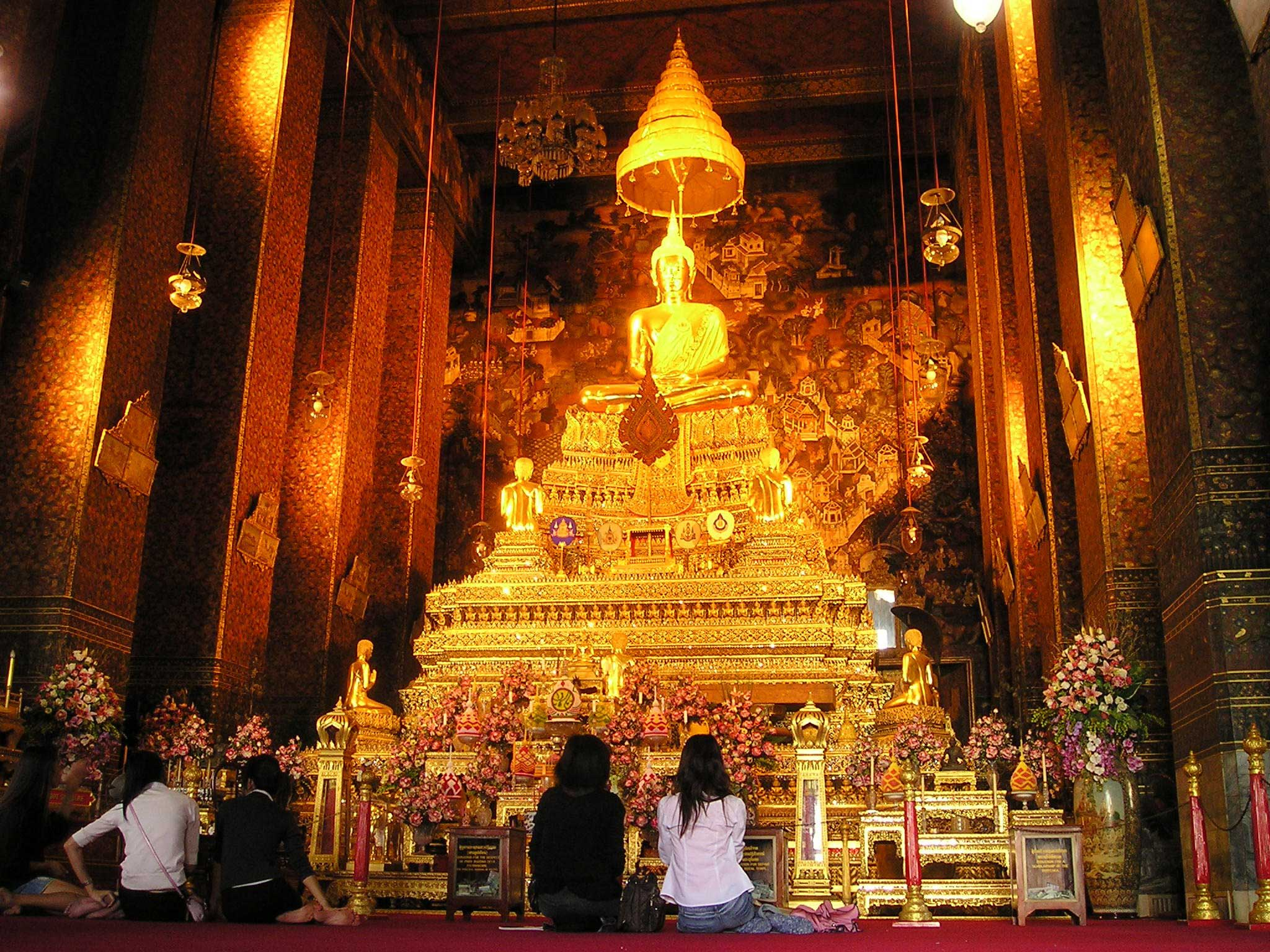 A golden shrine to the Buddha in Bangkok, Thailand.