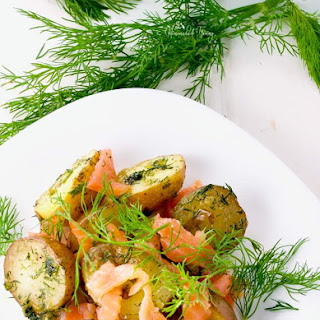 Warm Potato Salad with Dill & Smoked Salmon.