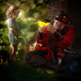 Story Book Time by Sandra Hilton Wagner - Digital Art People ( magic, pirate, moody, wonder, girl, digital art )