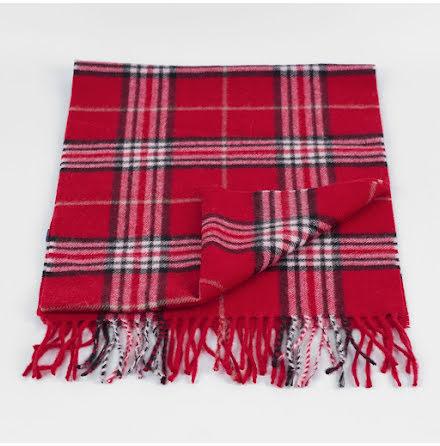 Dako halsduk röd rutig ull