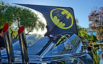 Photo: Oct 24, 2013. My boss brought in his replica Batmobile (built to the original blueprints). I just happened to have the custom Gary Dromgold Bat-Signal sport kite recently signed by Adam West. There was no wind and my airshots are blurry as I forgot to change the pocket camera to Shutter Speed Priority in the late afternoon shade (DOH!). Luckily, I did shoot a few pics in HDR mode. The picture of me in the car wearing the cowl will not be seen, although it did happen.