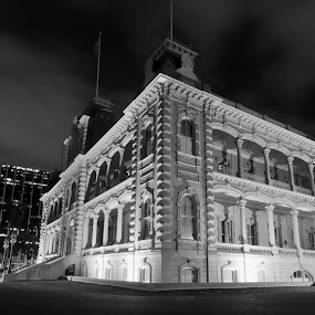 'Iolani Palace by Aaron Gould - Black & White Buildings & Architecture