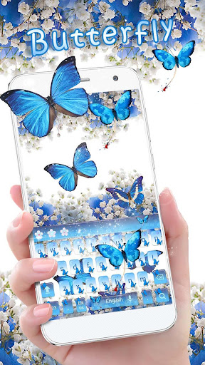 Blue Butterfly Keyboard Theme Baby's Breath Flower 10001005 screenshots 1