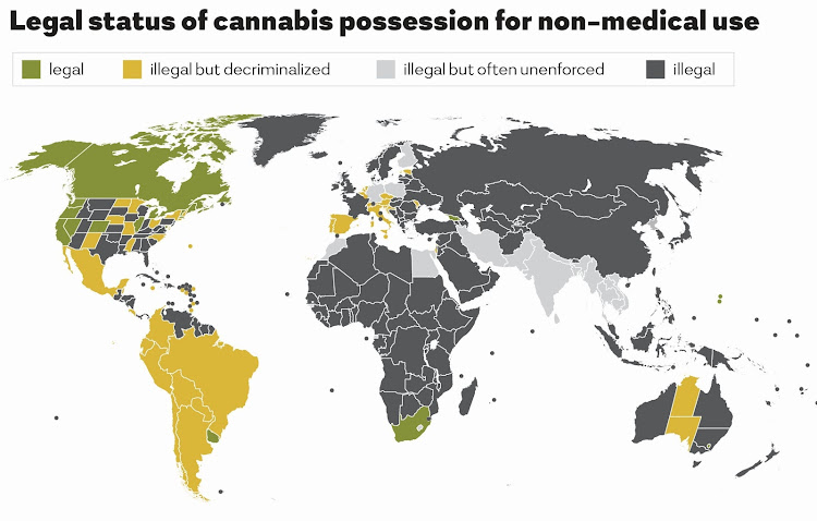 Legal status of cannabis possession for non-medical use around the world.