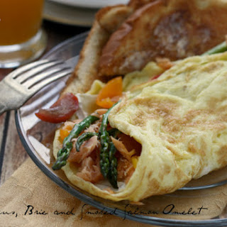 Asparagus, Brie and Smoked Salmon Omelet.