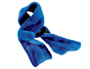 Photo: POLOGEORGIS Exclusively ours. Yves Klein Blue dyed mink scarf (USA). $950. Also available in bottle green, bordeaux and brown. USA. Main Floor. 212 872 8775