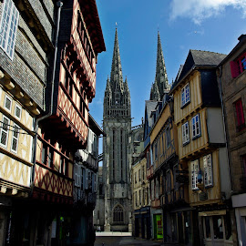 Quimper by Ciprian Apetrei - City,  Street & Park  Historic Districts ( traditional, city, buildings, church, brittany )