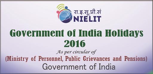 Govt. of India Holidays 2016 бағдарламалар (apk) Android/PC/Windows үшін тегін жүктеу screenshot