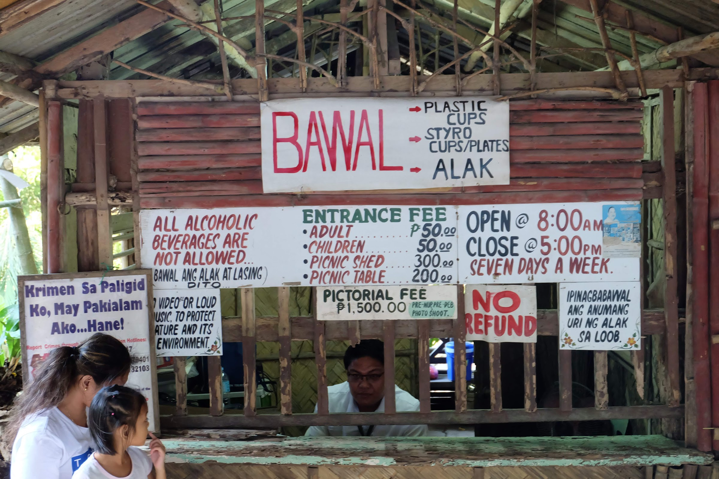 Entrance of Daranak falls Tanay with the fees and rules