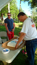 Photo: Dad and Sean, as the cake was cut and passed out...