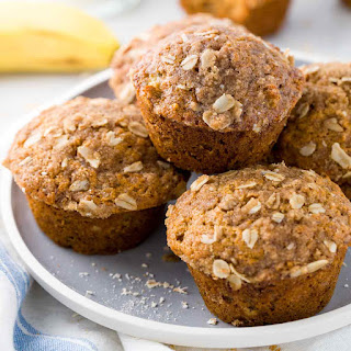 Healthy Banana Muffins with Oats.