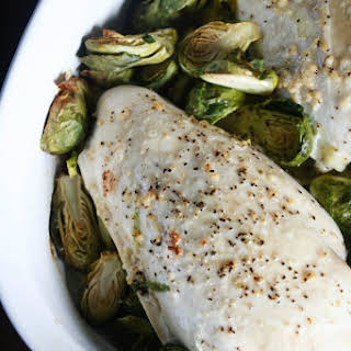 Baked Garlic Butter Chicken and Brussels Sprouts.