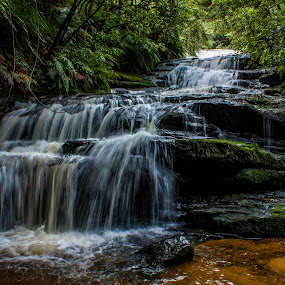 Leura cascades by David Spillane - Landscapes Waterscapes ( falls, cascades, nsw, leaura )