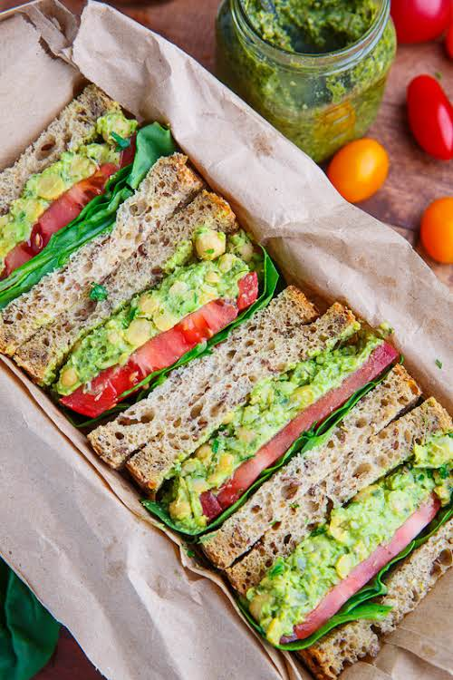 """Pesto Smashed Chickpea and Avocado Sandwich """"This sandwich is so quick and..."""
