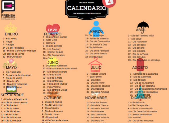 calendario de ideas de notas de prensa