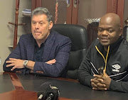 Newly appointed Black Leopards coach Luc Eymael (L) will look to stamp his philosophy on Lidoda Duvha during the lengthy break.