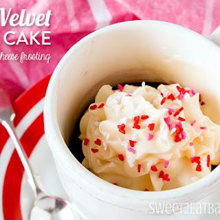 Red Velvet Mug Cake with Cream Cheese Frosting.